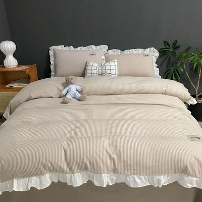 2019新款-全棉水洗棉公主风仙女款四件套 床单款三件套1.2m(4英尺)床 条纹-驼