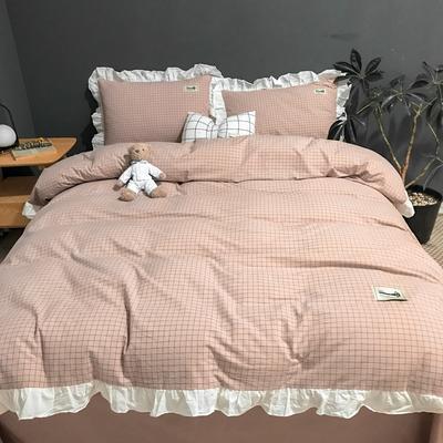 2019新款-全棉水洗棉公主风仙女款四件套 床单款四件套1.5m(5英尺)床 仙女格-粉