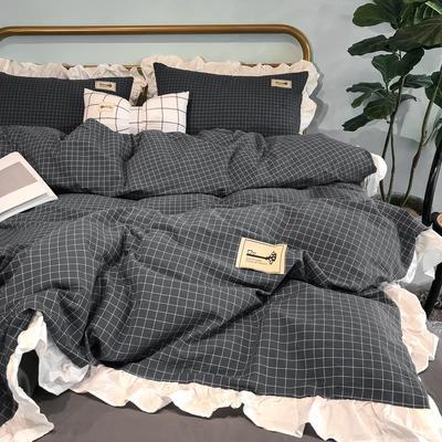 2019新款-全棉水洗棉公主风仙女款四件套 床单款四件套1.5m(5英尺)床 仙女格-灰