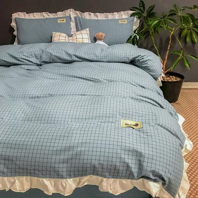 2019新款-全棉水洗棉公主风仙女款四件套 床单款四件套1.5m(5英尺)床 仙女格-蓝