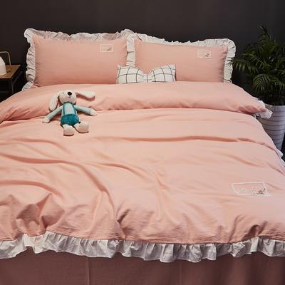 2019新款-全棉水洗棉公主风仙女款四件套 床单款三件套1.2m(4英尺)床 樱花粉