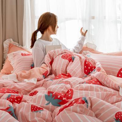 2019春夏新品 公主风全棉水洗棉系列 床裙款 1.2床裙 草莓甜心
