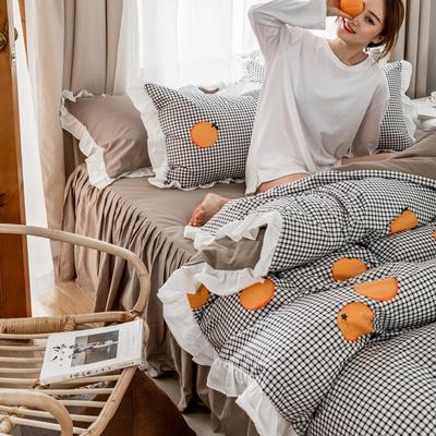 2019春夏新品 公主风全棉水洗棉系列 床裙款 1.2床裙 格子橙