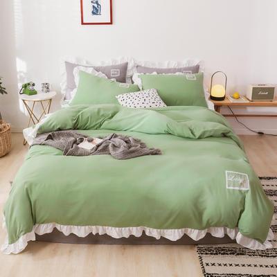 2019新款马卡龙花边款水洗棉四件套 1.2m床单款三件套 马卡龙绿