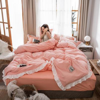 2019新款全棉水洗棉公主风(仙女款) 1.2m床单款三件套 条纹-粉