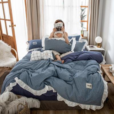 2019新款全棉水洗棉公主风(仙女款) 1.2m床单款三件套 条纹-蓝