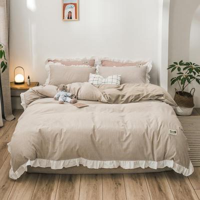 2019新款全棉水洗棉公主风(仙女款) 1.2m床单款三件套 条纹驼