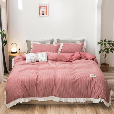 2019新款全棉水洗棉公主风(仙女款) 1.2m床单款三件套 条纹红