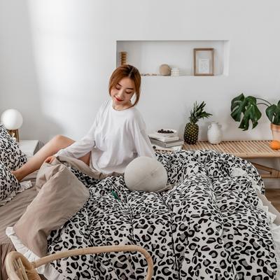 2019新款- 公主风全棉水洗棉系列 1.2床裙三件套 豹纹-黑