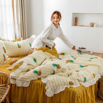 2019新款- 公主风全棉水洗棉系列 1.2床裙三件套 菠萝蜜