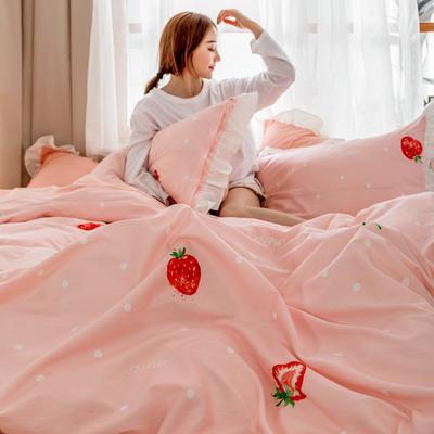 2019新款- 公主风全棉水洗棉系列 1.2床单款三件套 草莓