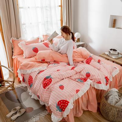2019新款- 公主风全棉水洗棉系列 1.2床裙三件套 草莓甜心