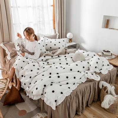 2019新款- 公主风全棉水洗棉系列 1.2床裙三件套 点点-白