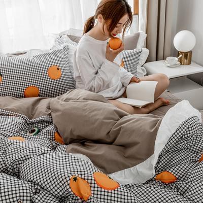 2019新款- 公主风全棉水洗棉系列 1.2床单款三件套 格子橙
