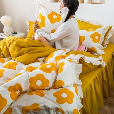 2019新款- 公主风全棉水洗棉系列 1.2床裙三件套 泫雅橙
