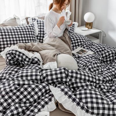 2019新款- 公主风全棉水洗棉系列 1.2床裙三件套 棉格