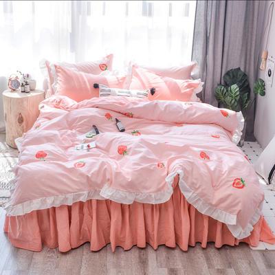 2019新款-春夏新品公主风全棉水洗棉系列 1.2床裙三件套 草莓