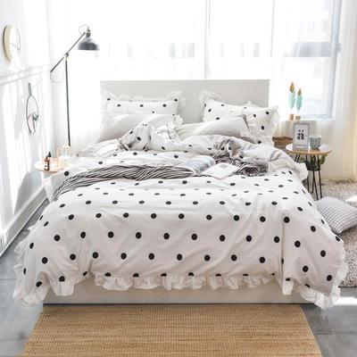 2019新款-春夏新品公主風全棉水洗棉系列 1.2床單款三件套 點點-白