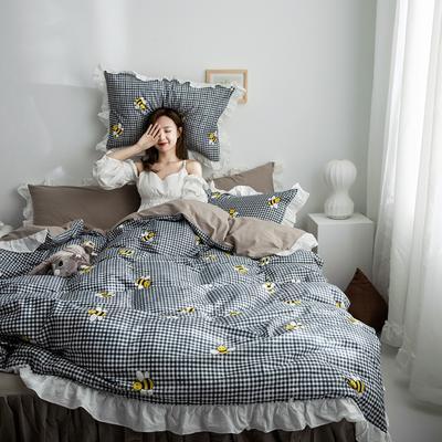 2019新款-春夏新品公主風全棉水洗棉系列 1.2床單款三件套 蜜蜂