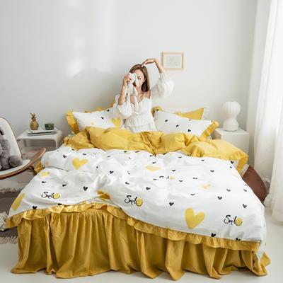 2019新款-春夏新品公主风全棉水洗棉系列 1.2床裙三件套 微笑