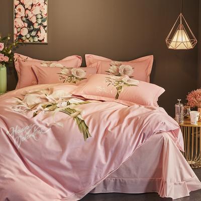 2019新款-全棉磨毛阳光暖绒四件套 床单款1.8m(6英尺)床 艾瑞斯-粉