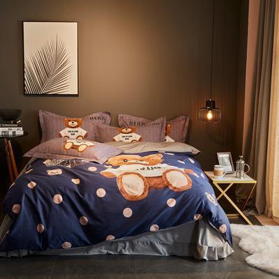 2019新款-全棉磨毛阳光暖绒四件套 床单款1.8m(6英尺)床 潮童