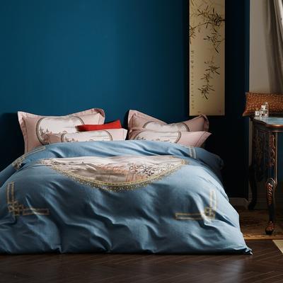 2019新款-全棉磨毛阳光暖绒四件套 床单款1.8m(6英尺)床 镜花水月-蓝