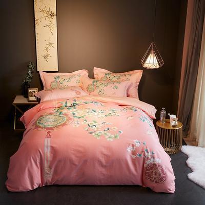 2019新款-全棉磨毛阳光暖绒四件套 床单款1.8m(6英尺)床 竹林风-粉