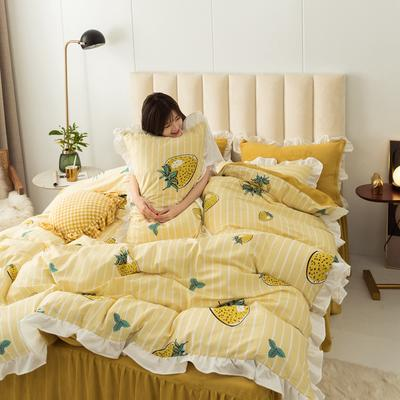 2019新款公主风棉+绒褶皱款花边四件套 床单款1.2m床 草莓小姐