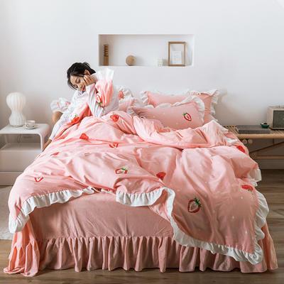 2019新款公主风棉+绒褶皱款花边四件套 床单款1.5m床 草莓之恋