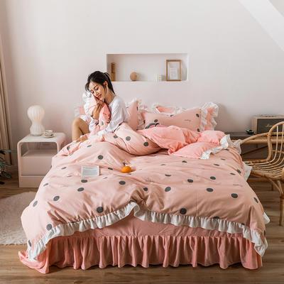 2019新款公主风棉+绒褶皱款花边四件套 床单款1.2m床 点点粉