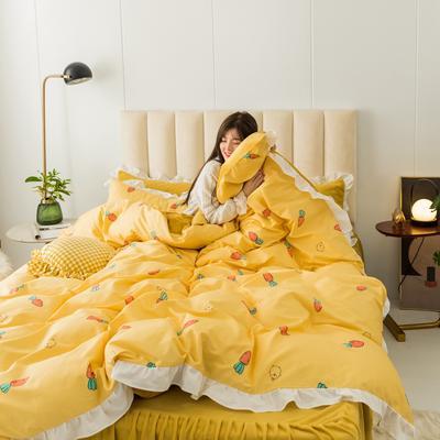 2019新款公主风棉+绒褶皱款花边四件套 床单款1.5m床 胡萝卜
