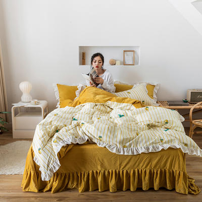 2019新款公主风棉+绒褶皱款花边四件套 床单款1.2m床 蜜果