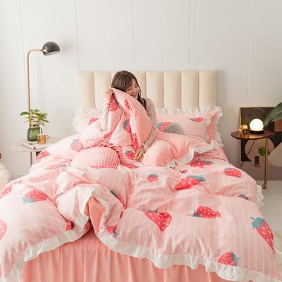 2019新款公主风棉+绒褶皱款花边四件套 床单款1.2m床 条纹草莓