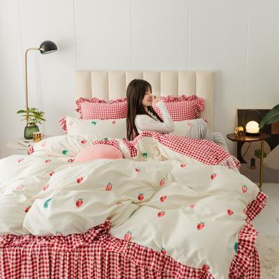 2019新款公主风棉+绒褶皱款花边四件套 床单款1.2m床 草莓派对