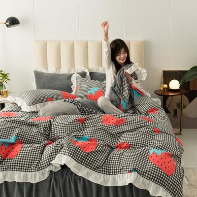 2019新款公主风棉+绒褶皱款花边四件套 床单款1.2m床 心慕