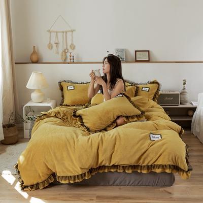 2019新款-黑纱蕾丝宝宝绒保暖四件套 床单款三件套1.2m(4英尺)床 黑纱蕾丝 -姜黄