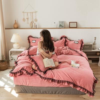2019新款-黑纱蕾丝宝宝绒保暖四件套 床单款三件套1.2m(4英尺)床 黑纱蕾丝-豆沙