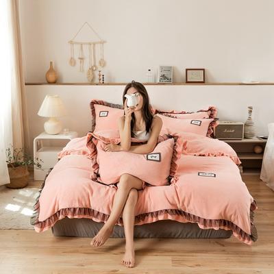 2019新款-黑纱蕾丝宝宝绒保暖四件套 床单款四件套1.8m(6英尺)床 黑纱蕾丝-粉玉