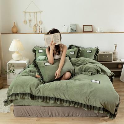 2019新款-黑纱蕾丝宝宝绒保暖四件套 床单款四件套1.8m(6英尺)床 黑纱蕾丝-果绿