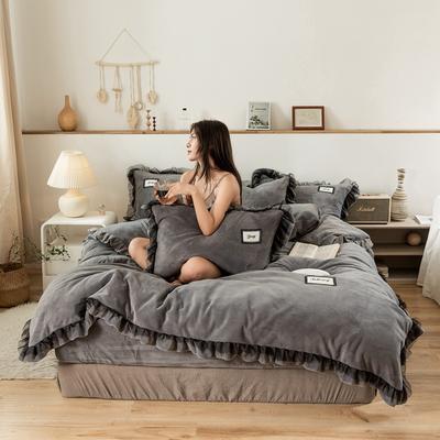 2019新款-黑纱蕾丝宝宝绒保暖四件套 床单款四件套1.8m(6英尺)床 黑纱蕾丝-灰色