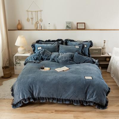 2019新款-黑纱蕾丝宝宝绒保暖四件套 床单款四件套1.8m(6英尺)床 黑纱蕾丝-深蓝