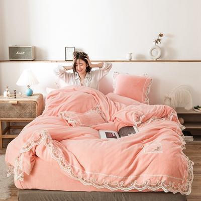 2019新款-蕾丝花边宝宝绒保暖四件套 床单款三件套1.2m(4英尺)床 蕾丝花边-粉玉