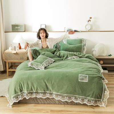 2019新款-蕾丝花边宝宝绒保暖四件套 床单款四件套1.8m(6英尺)床 蕾丝花边-果绿