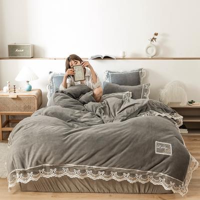 2019新款-蕾丝花边宝宝绒保暖四件套 床单款四件套1.8m(6英尺)床 蕾丝花边-灰色