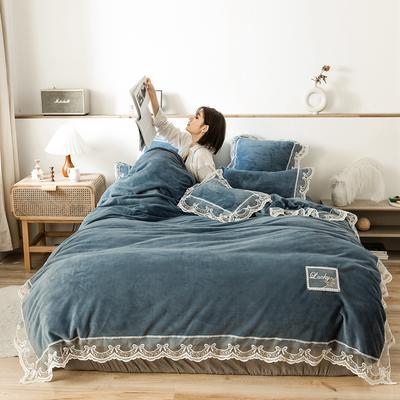 2019新款-蕾丝花边宝宝绒保暖四件套 床单款四件套1.8m(6英尺)床 蕾丝花边-深兰