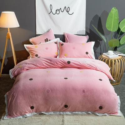 2019新款-羊羔绒刺绣款保暖四件套 床单款四件套1.5m(5英尺)床 安娜