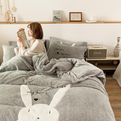 2019新款-羊羔绒刺绣款保暖四件套 床单款三件套1.2m(4英尺)床 萌萌兔-灰