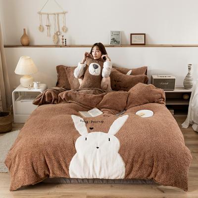 2019新款-羊羔绒刺绣款保暖四件套 床单款三件套1.2m(4英尺)床 萌萌兔-咖
