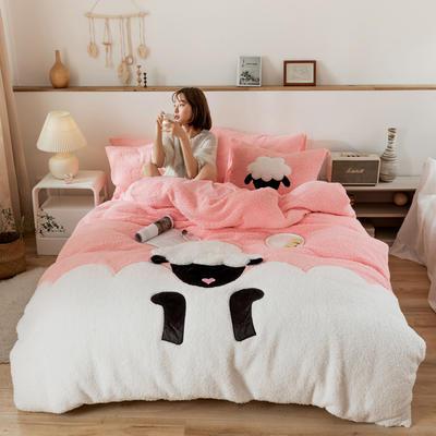 2019新款-羊羔绒刺绣款保暖四件套 床单款四件套1.5m(5英尺)床 小羊肖恩-粉